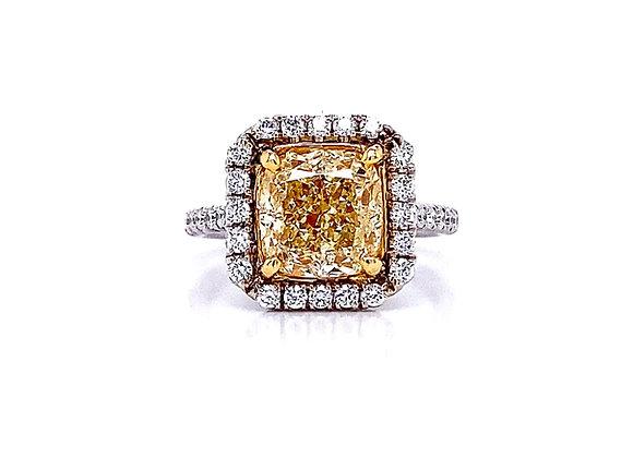 18kt Two-Tone 3.03ct Cushion Cut Fancy Yellow Diamond Halo Ring