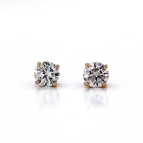 14kt Yellow Gold Ladies 1.13ctw Round Diamond Stud Earrings