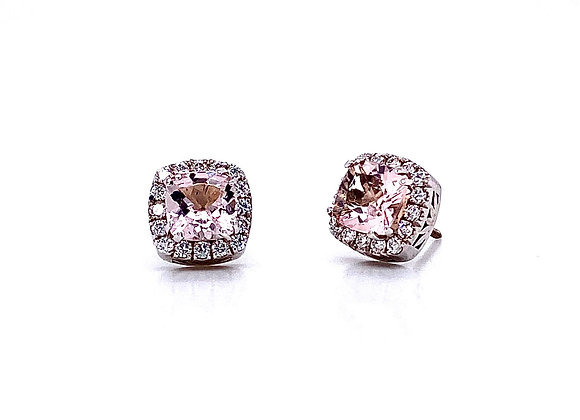 14kt White Gold Cushion Cut Morganite Halo Earrings