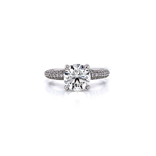 14kt White Gold Ladies 1.40ct Round Diamond 3D Pave Style Ring