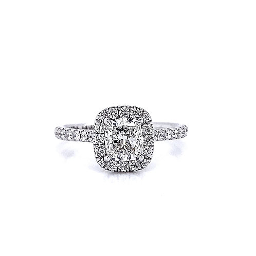 14kt White Gold 1.05ctw Cushion Cut Diamond Halo Ring