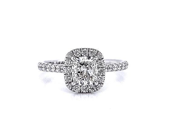 14kt White Gold 1.05ctw Cushion Cut Diamond Halo Ring