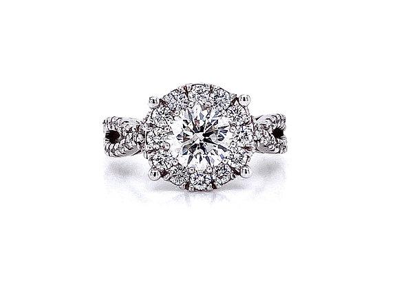 14kt White Gold Ladies 1.20ct Round Diamond Hybrid Halo Swirl Ring