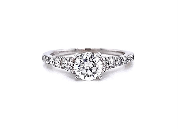 14kt White Gold 1.03ctw Round Diamond Side Stone Ring