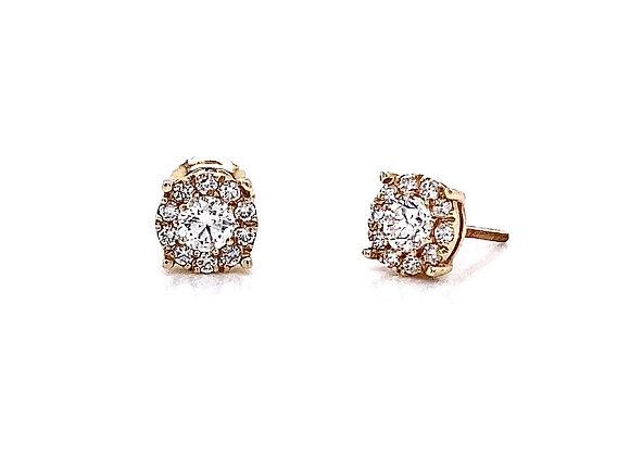 14kt Yellow Gold 0.58ctw Round Diamond Halo Earrings