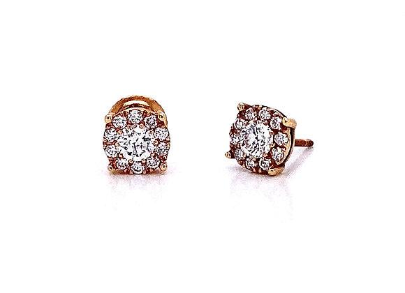 14kt Rose Gold 0.61ctw Round Diamond Halo Earrings