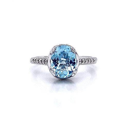 14kt White Gold Blue Topaz and Diamond Vintage Style Ring
