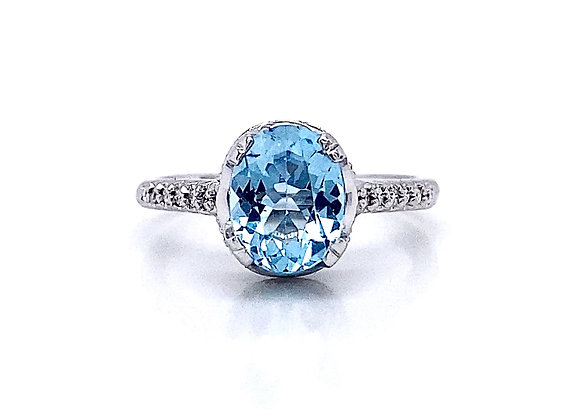 14kt White Gold Blue Topaz and Diamond Vintage Style Ring