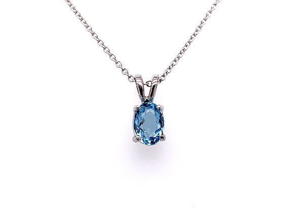14kt White Gold Ladies 0.71ct Oval Blue Topaz Gemstone Pendant