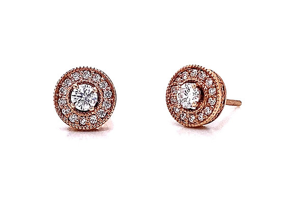 14kt Rose Gold 0.48ctw Round Diamond Vintage Style Halo Earrings