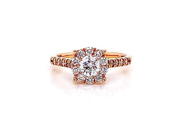 14kt Rose Gold Ladies 0.83ctw Round Diamond Hybrid Halo Ring
