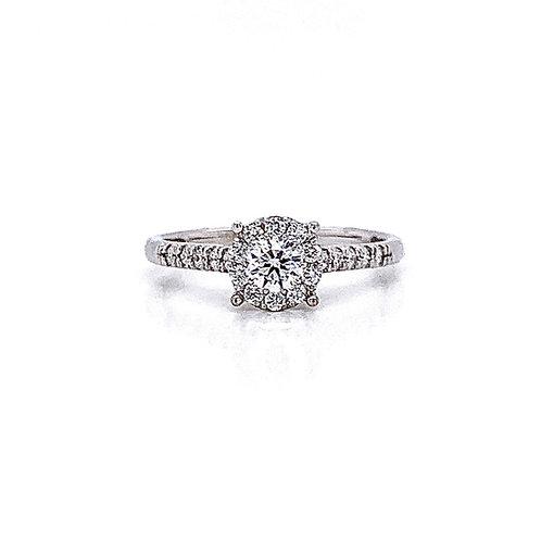 14kt White Gold Ladies 0.47ctw Round Diamond Hybrid Halo Ring