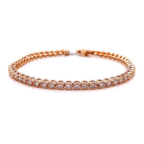 14kt Rose Gold Ladies 2.18ctw Vintage Round Diamond Tennis Bracelet