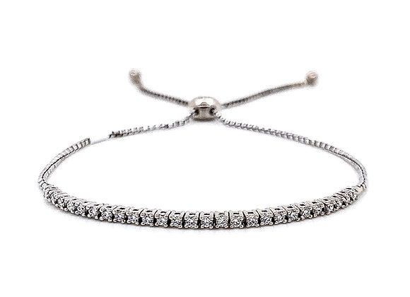 14kt White Gold Ladies 0.42ctw Round Diamond Bolo Bracelet
