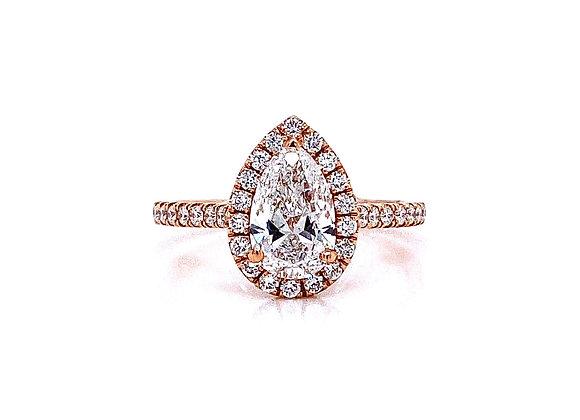 14kt Rose Gold Ladies 1.21ct Pear Shape Diamond Halo Ring