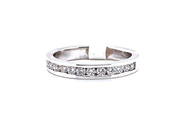 14kt White Gold Ladies Round Diamond Channel Band