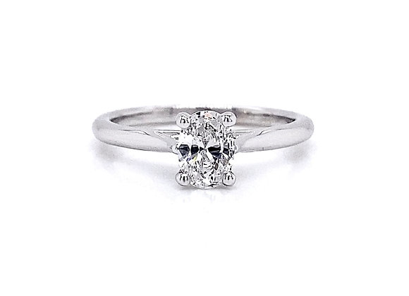 14kt White Gold 0.60ct Oval Cut Diamond Solitaire Ring