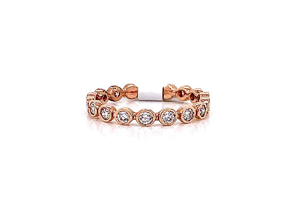 14kt Rose Gold Ladies Vintage Style Diamond Band