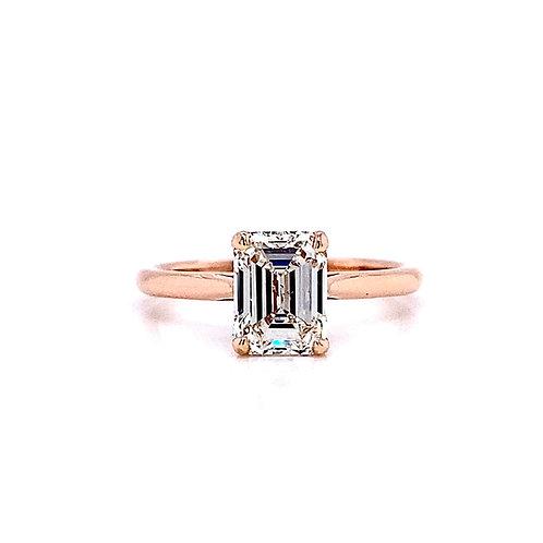 14kt Rose Gold Ladies 1.71ct Emerald Cut Diamond Solitaire Ring