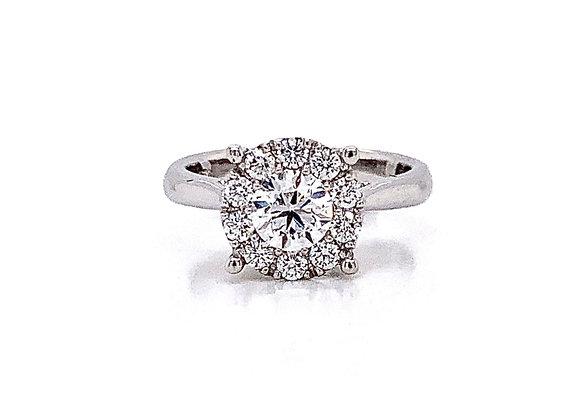 14kt White Gold Ladies 1.07ctw Round Diamond Hybrid Halo Ring