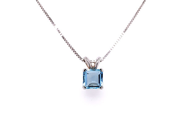14kt White Gold Ladies 0.68ct Square Cut Aquamarine Gemstone Pendant