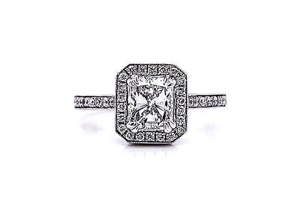 18kt White Gold 1.28ctw Radiant Diamond Pave Style Halo Ring