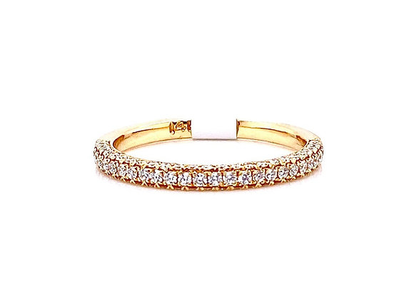 14kt Yellow Gold Ladies 3D Round Diamond Pave Band