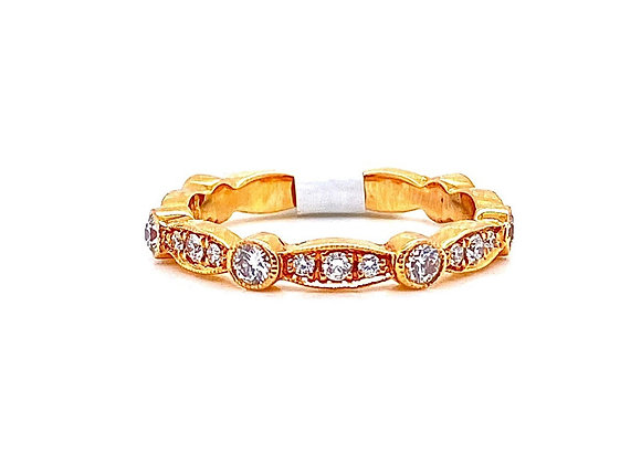 14kt Rose Gold Ladies Diamond Vintage Style Band