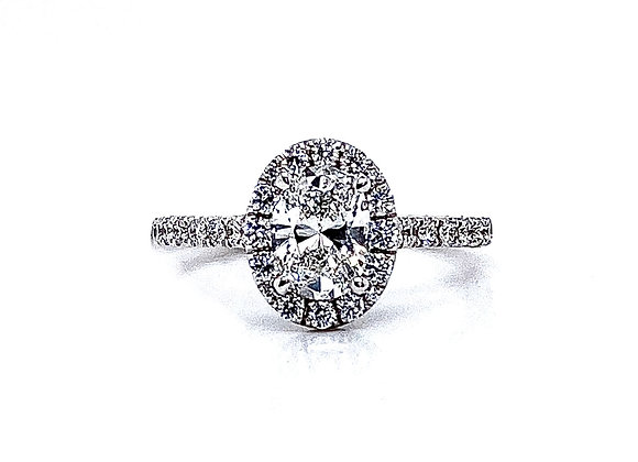 14kt White Gold 0.78ct Oval Diamond Halo Ring