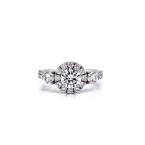 14kt White Gold Ladies 1.14ctw Round Diamond Halo Ring