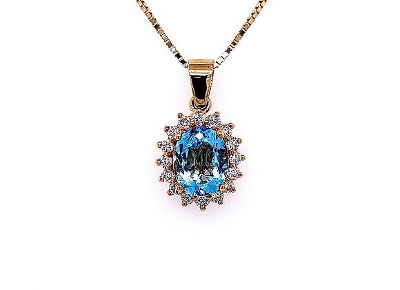 14kt Yellow Gold 2.17ct Oval Shape Aquamarine Gemstone and Diamond Halo Pendant