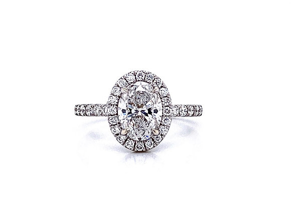 14kt White Gold Ladies 1.20ct Oval Diamond Halo Ring