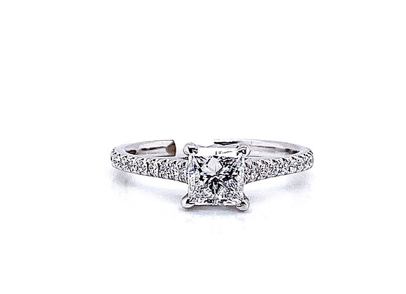14kt White Gold 0.70ct Princess Cut Diamond Side Stone Ring