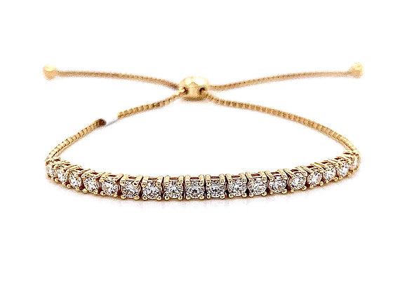 14kt Yellow Gold Ladies 0.79ctw Round Diamond Bolo Bracelet