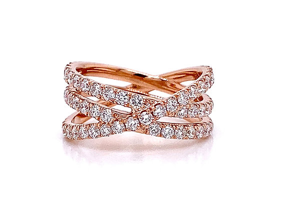 14kt Rose Gold Ladies Diamond Crossover Bands