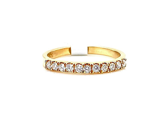 14kt Yellow Gold Ladies Diamond Straight Band