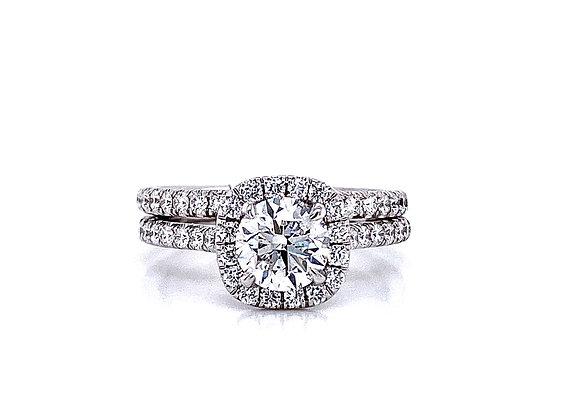 14kt White Gold Ladies 1.01ct Round Diamond Halo Ring