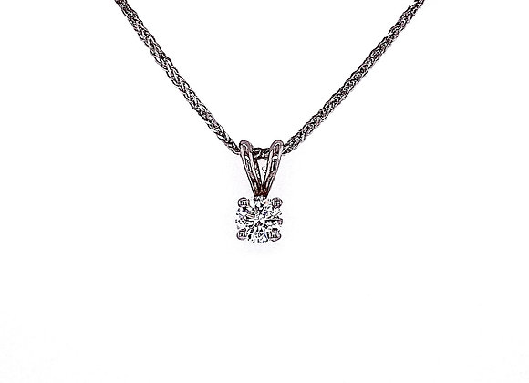 14kt White Gold Ladies 0.70ct Round Diamond Solitaire Pendant