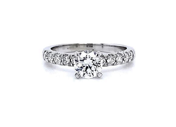 14kt White Gold 0.91ctw Round Diamond Side Stone Ring