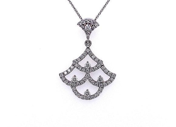 14kt White Gold Ladies Round Diamond Vintage Style Pendant