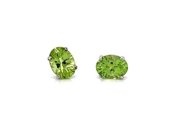 14kt White Gold Ladies 2.26ctw Oval Cut Peridot Gemstone Earrings