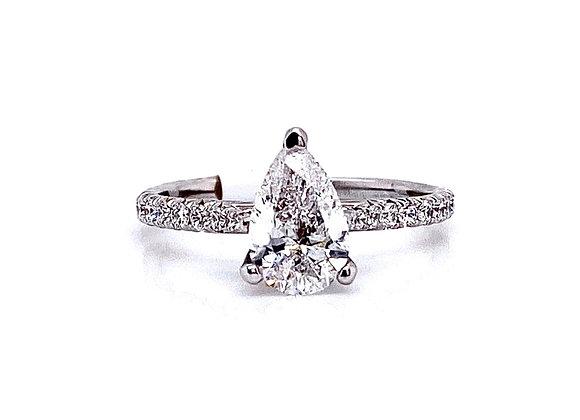 14kt White Gold 1.21ct Pear Shape Diamond Side Stone Ring