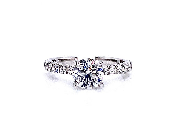 14kt White Gold 1.02ct Round Diamond Side Stone Ring