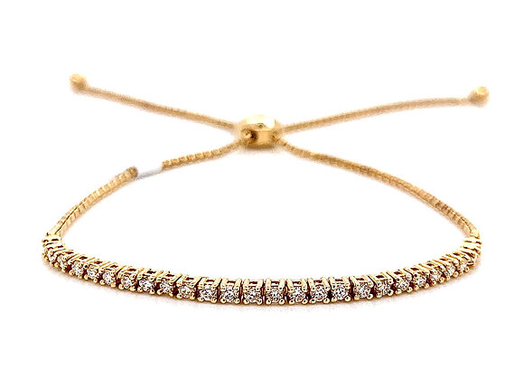 14kt Yellow Gold Ladies 0.40ctw Round Diamond Bolo Bracelet