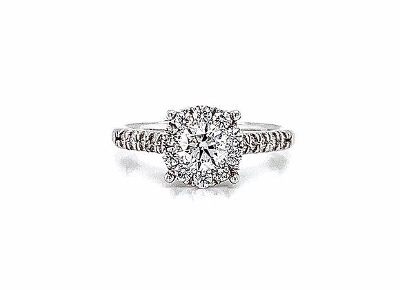 14kt White Gold Ladies 0.90ctw Round Diamond Hybrid Halo Ring