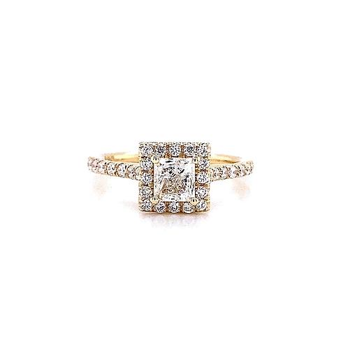 14kt Yellow Gold Ladies Princess Cut Diamond Halo Ring