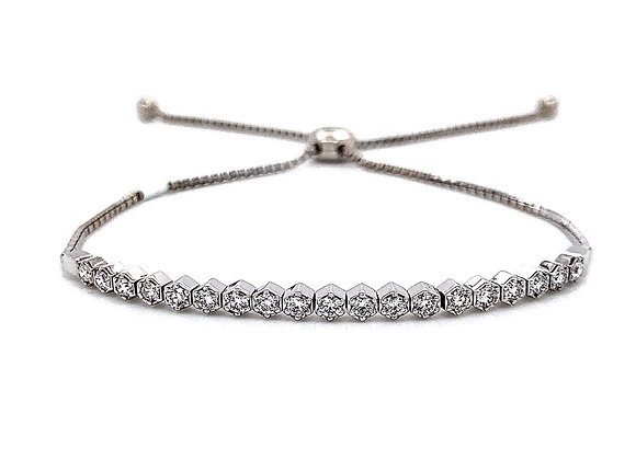14kt White Gold Ladies 0.63ctw Vintage Round Diamond Bolo Bracelet