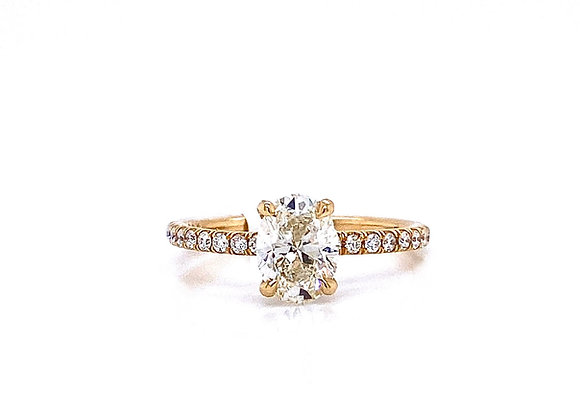 14kt Yellow Gold Ladies 1.00ct Oval Diamond Side Stone Ring