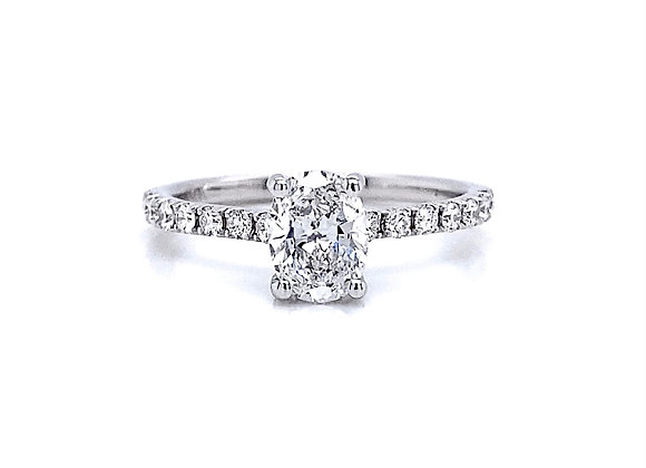 14kt White Gold Ladies 1.02ctw Oval Diamond Side Stone Ring