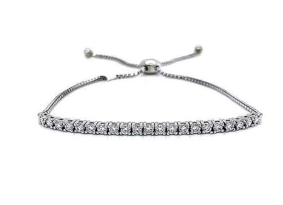 14kt White Gold Ladies 0.72ctw Round Diamond Bolo Bracelet